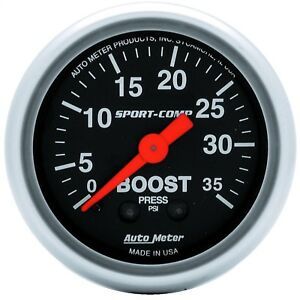 Autometer 3304 Sport comp Mechanical Boost 0 35 Psi Gauge 2 1 16