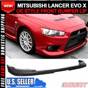 For 08 15 Lancer Evo X 10 Jdm Oe Factory Style Front Bumper Lip Unpainted