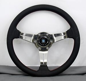 Nardi Steering Wheel Deep Dish Corn 330mm Black Perf Leather Polished Classic Hb