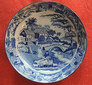 Large Antique Pearlware Plate Blue White Transferware Bowl Saucer 19th C 1825