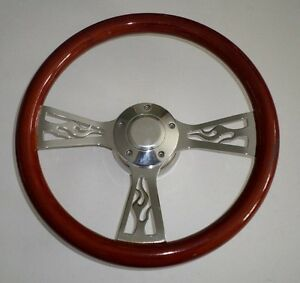 14 Mahogany Wood Flame Spoke Steering Wheel Kit With Horn Button Hub Adapter
