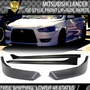 Fit For 08 15 Mitsubishi Lancer Oe Front Bumper Lip Spoiler Side Skirts Pp