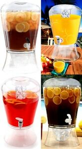 Portable 3 gallon Beverage Dispenser Compact Glass Ice Lemon Tea Cold Camping