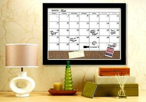 White Board Dry Erase Cork Calendar Magnetic Espresso Frame Marker Holiday Work