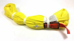 Yellow Endless Polyester Round Sling Tubular 16 Long