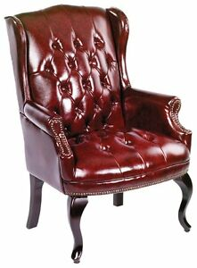 Boss Office Products B809 by Wingback Traditional Guest Chair In Burgundy New