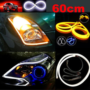 Switchback Headlight Led Strip Drl Daytime Light For Audi Style Tube White Amber