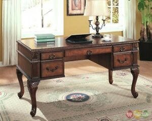 Traditional Wood 5 Drawer Writing Desk W Cabriole Legs Carved Accents 5400