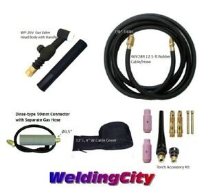 Miller Tig Welding Torch Set 26v 200a 12 Valve Head Air cool Us Seller