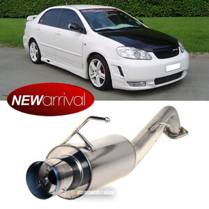 Fit 03 07 Corolla Stainless Steel Bolt On Axle Back Exhaust Muffler Green Tip