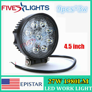 2pcs 27w Led Work Light Bar Round Spot Driving Lights Offroad Fog 4wd Boat Ute