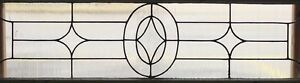 Large Antique Leaded Glass Transom Window Art Deco Diamond Design 2536