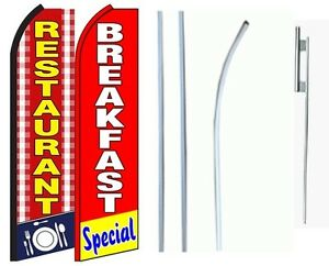 Restaurant Breakfast Standard Size Swooper Flag With Complete 2 Full Set Combo