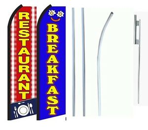 Restaurant Breakfast King Size Swooper Flag With Complete 2 Full Set Combo