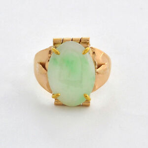 Vintage 18 K Solid Gold Chinese Nature Apple Green Jade Solitaire Ring Size 8 5