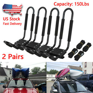 2 Pairs Kayak Carrier Boat Ski Surf Snowboard Roof Mount Car Cross J bar Rack