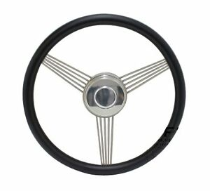 14 Black Banjo Steering Wheel With Stainless Steel Spokes And Horn Button