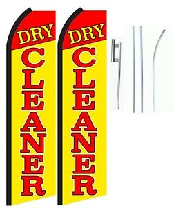Dry Cleaner King Size Swooper Flag With Complete 2 Full Set
