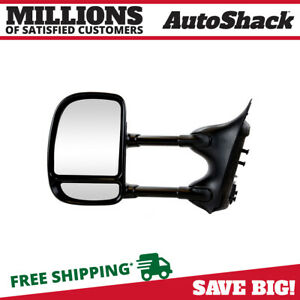 New Manual Black Towing Drivers Side Mirror Fits Ford F Series Super Duty