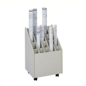 Filing Cabinet File Storage Compartment Wood Mobile Roll Organizer In Putty