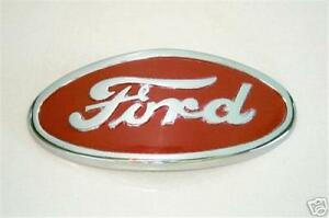 Ford 8n Tractor Chrome Red Background Hood Emblem Replaces 8n16600a