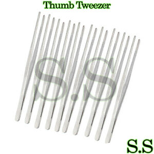 10 Pc Dissecting Forceps thumb Tweezers Straight 12 Blunt blunt