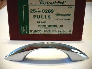 Vintage Nos Chrome Drawer Pulls Cabinet Handles Peaked Convex Face National Lock