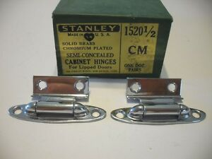 Vtg Nos Solid Brass Chrome Plated Cabinet Door Hinges For Lipped Doors Stanley