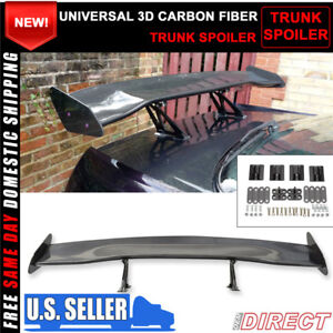 For 56 Inch Gt Trunk Spoiler Wing Jdm Carbon Fiber 3d Black Tail Deck Adjustable