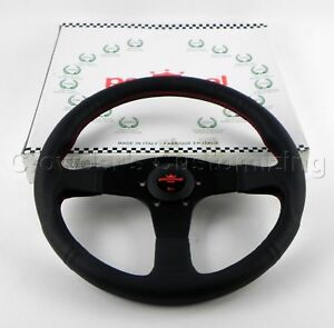 Personal Steering Wheel 350 Mm Neo Actis Italian Black Leather Red Stitching