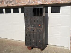 Rare Antique Industrial Storage Globe Stackable Auto Car Dealer Metal Cabinet