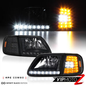 For Ford 97 03 F150 Black 4pc Headlight Corner Signal Lamp W Bright Led Smd Bulb