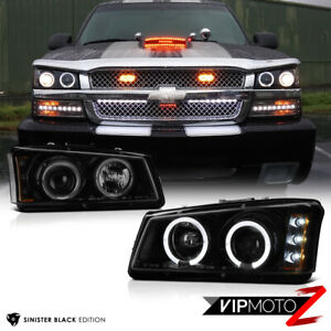 2003 2006 Chevy Silverado Sinister Black 03 05 Avalanche Halo Led Headlights