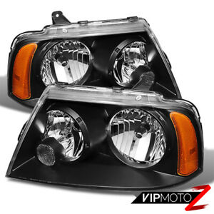2003 2006 Lincoln Navigator Base Ultimate Black Front Headlights Assembly Pair
