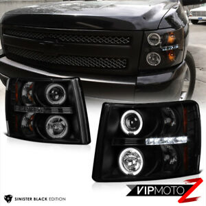 Sinister Black 2007 2013 Chevy Silverado 1500 2500hd 3500hd Halo Led Headlight