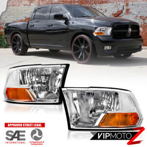 For 09 18 Dodge Ram 1500 2500 3500 Crystal Clear Chrome Replacement Headlight