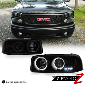 Sinister Black 99 06 Gmc Yukon Sierra World Class Tinted Projector Headlight