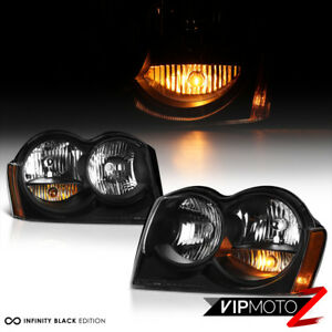 For 05 07 Jeep Grand Cherokee Wk Limited Laredo Black Front Headlight Assembly