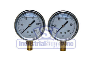 Liquid Filled Pressure Gauge 0 100 Psi 2 1 2 Face 1 4 Lm 2 Pack