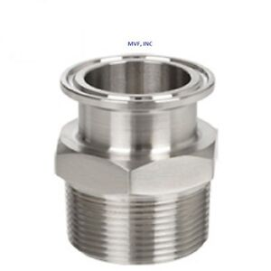 Sanitary 2 1 1 2 Npt Male Adapter 304s s Clamp End Dairy Tri Clover