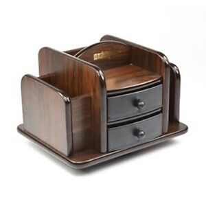 Small Organizer Storage Desktop Desk Sorter Stuff Holder Tray Wood Office Home