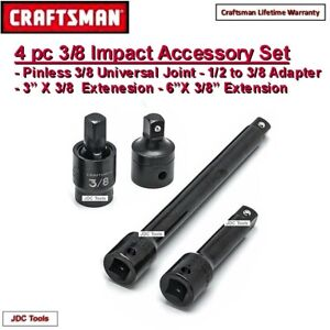 Craftsman 4 Pc 3 8 Drive Impact Universal Swivel Joint Set W 2 Extension Bars 3