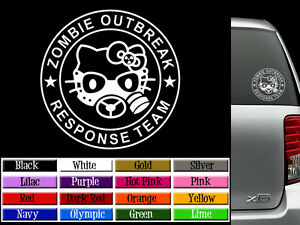 Hello Kitty Zombie Response Team Vinyl Decal Auto Graphics Or Wall Sticker