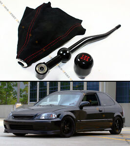 For 88 00 Honda Civic Blk Dual Short Shifter Blk Type r Shift Knob Suede Boot