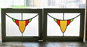Pair Of Antique Stained Glass Windows Three Colors Delightful Gold Design 2888