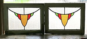 Pair Of Antique Stained Glass Windows Three Color Golden Design 2889