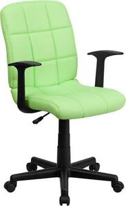 Flash Furniture Mid back Green Quilted Vinyl Office Task Chair With Nylon Arms
