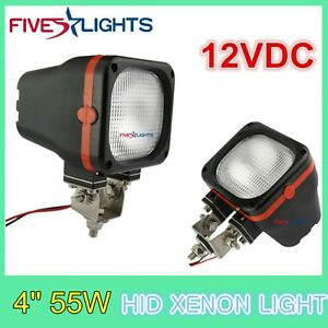 2x 4inch 55w Square Flood Hid Xenon Light For Driving Boat Offroad Truck 12v