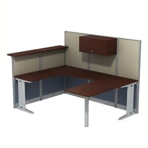 Office In An Hour U Shaped Cubicle Workstation With Storage In Cherry