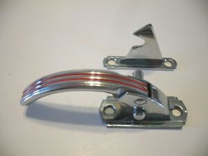Vintage Nos Chrome Hoosier Cabinet Door Latch W Red Lines Right Hand 3 8 Offset